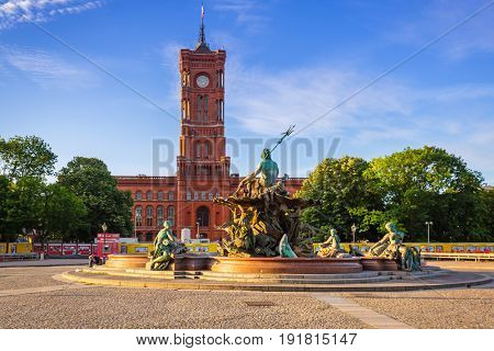 BERLIN, GERMANY - JUNE 15, 2017: The Neptune Fountain in Berlin, Germany. Berlin is the capital and the largest city of Germany with a population of approximately 3.7 million people.