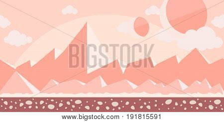 Seamless unending background for arcade game or animation. Surface of the planet Mars or rocky desert with mountains in the background. Vector illustration, parallax ready.