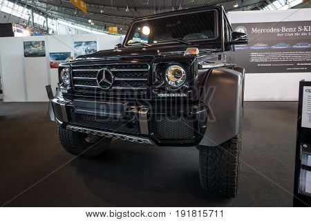 STUTTGART GERMANY - MARCH 03 2017: Off-road car Mercedes-Benz G500 4x4 2. Europe's greatest classic car exhibition