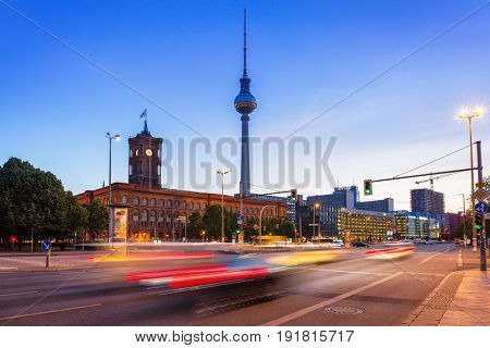 BERLIN, GERMANY - JUNE 15, 2017: Architecture of city center in Berlin at dawn, Germany. Berlin is the capital and the largest city of Germany with a population of approximately 3.7 million people.