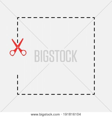 Stationery scissors red cut. Vector icon, background, or character.