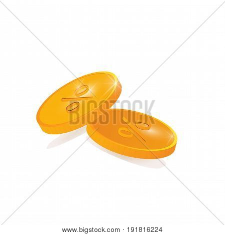 Vector illustration: two coins with percentage sign isolated on a white background.