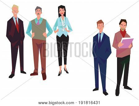 Group of office workers employees managers and. Business people in casual and office clothes. Isolated on white. Business Icons. Business design. Vector