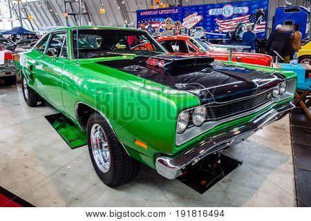 STUTTGART GERMANY - MARCH 03 2017: Muscle car Dodge Super Bee 440 Six Pack 1969. Europe's greatest classic car exhibition