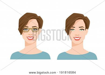 vector illustration of woman' face on white background. Woman in spectacle