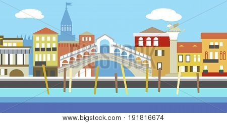 Illustration of European cityscape in simple style. Traditional landscape. Houses in the old European style. River channel.