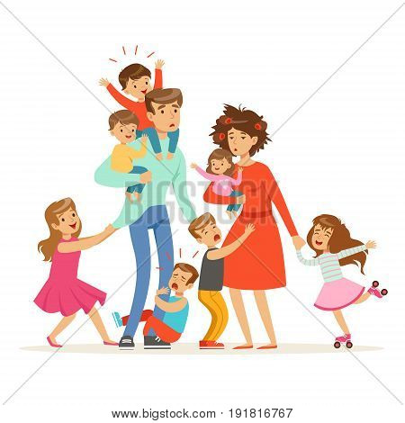 Large family with many children. Kids, babies and their tired parents vector Illustration isolated on a white background