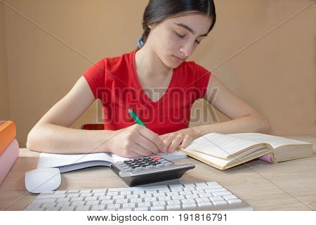 Young Girl doing homework at home. Girl doing her homework