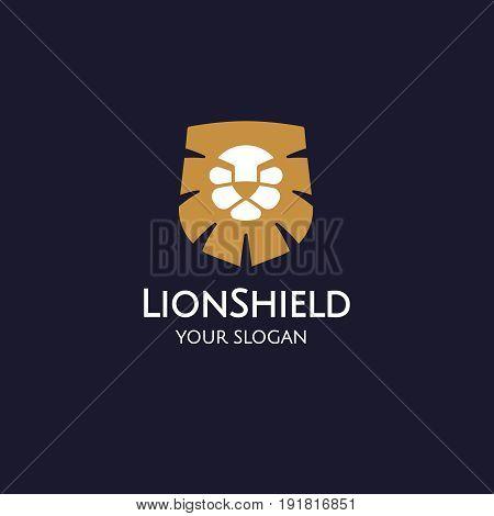 Lion shield logo design template, Lion head logo, Element for the brand identity, Vector illustration on a dark background