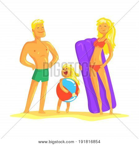 Happy parents and their son resting on the beach, summer holiday vector Illustration isolated on a white background