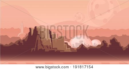 Seamless unending background for arcade game or animation. Surface of the planet Mars with mountains, space settlement and spaceship. Vector illustration, parallax ready.