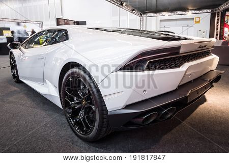 STUTTGART GERMANY - MARCH 03 2017: Sports car Lamborghini Huracan LP 610-4 2014. Rear view. Europe's greatest classic car exhibition