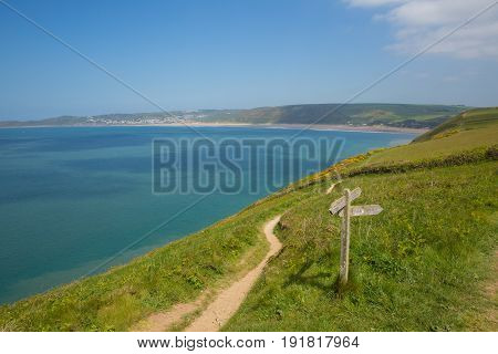Coast path to Woolacome Devon England UK in summer with blue sky