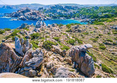 Bizarre granite rock formations in Capo Testa, Sardinia, Italy.