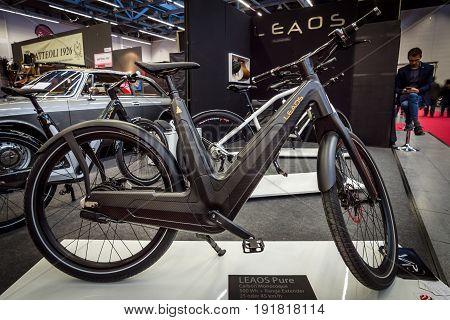 STUTTGART GERMANY - MARCH 03 2017: E-Bike Leaos Pure Nuvinci 500 Wh. Europe's greatest classic car exhibition