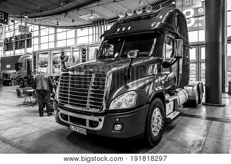 STUTTGART GERMANY - MARCH 03 2017: Truck Freightliner Cascadia Evolution 2015. Black and white. Europe's greatest classic car exhibition