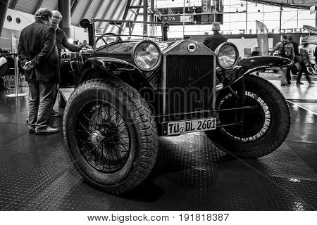 STUTTGART GERMANY - MARCH 03 2017: Retro car Lancia Lambda Serie 8 Torpedo 1928. Black and white. Europe's greatest classic car exhibition