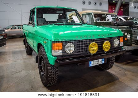 STUTTGART GERMANY - MARCH 03 2017: Sport utility vehicle Range Rover Classic 1980. Europe's greatest classic car exhibition
