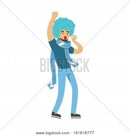 Cheering football fan character in blue wig celebrating the victory of his team vector Illustration isolated on a white background