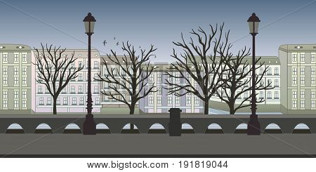 Seamless unending background for arcade game or animation. European city street with buildings, trees and lampposts. Vector illustration, parallax ready.