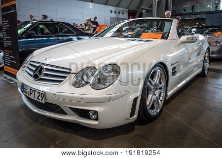 STUTTGART GERMANY - MARCH 03 2017: Grand Tourer car Mercedes-Benz SL55 AMG (R230) 2005. Europe's greatest classic car exhibition