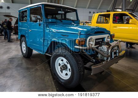 STUTTGART GERMANY - MARCH 03 2017: Compact SUV Toyota Land Cruiser (J40). Europe's greatest classic car exhibition
