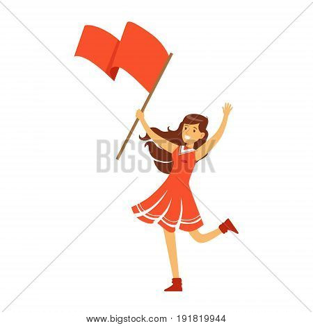 Cheering football fan girl character in red standing and holding red flag vector Illustration isolated on a white background