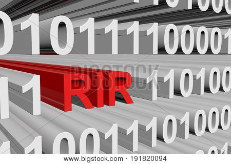 RIR is presented in the form of binary code 3d illustration