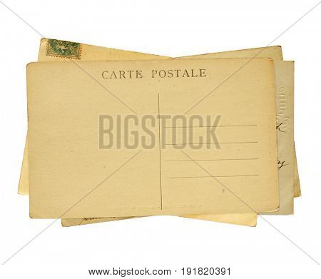 Vintage post cards. Isolated on white background. Inscription on the card - carte postale - postcard in french
