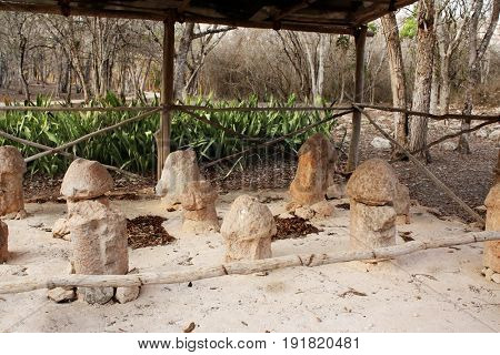 Famous Glade of phallus in Uxmal, royal complex, Yucatan, Mexico. UNESCO world heritage site