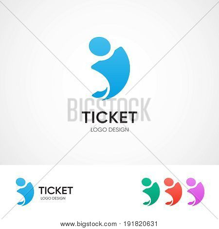Ticket center logo concept - vector emblem template for travel agency. Different color variations. EPS 10