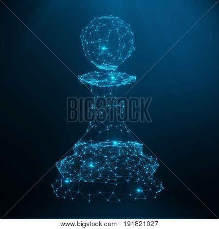 Abstract Low Poly Chess piece pawn consisting of dots and lines. Abstract Business Strategy Illustration. 3D Rendering