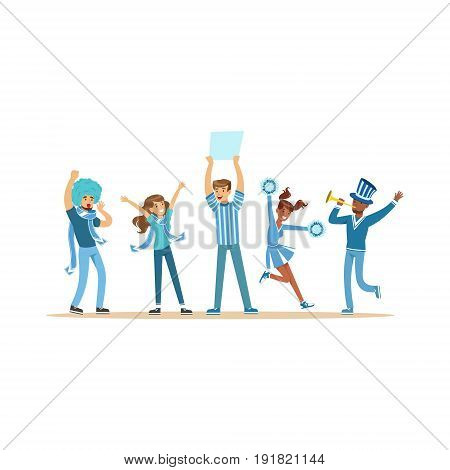 Group of sport fans in blue outfit supporting their team shouting and cheering vector Illustration isolated on a white background