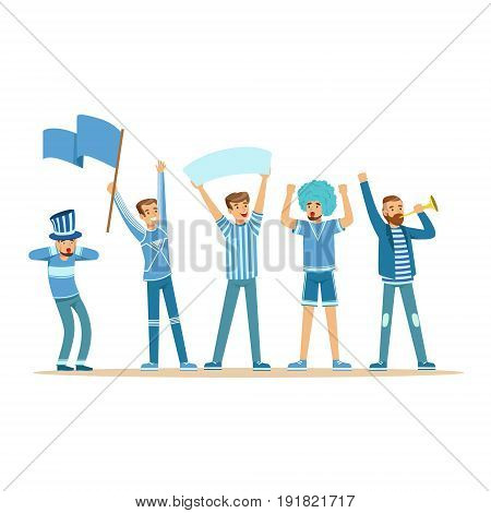 Group of sport fans in blue outfit supporting their team vector Illustration isolated on a white background