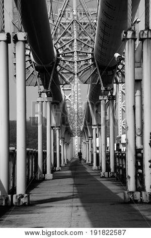 Walking through George Washington bridge in New York City