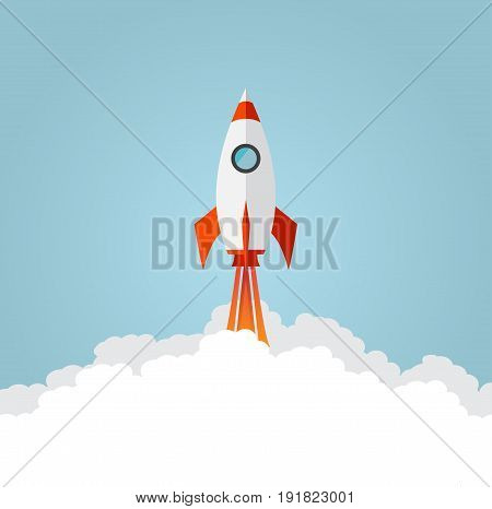 Rocket ship launch. Flat style. Blue background. Vector illustration.