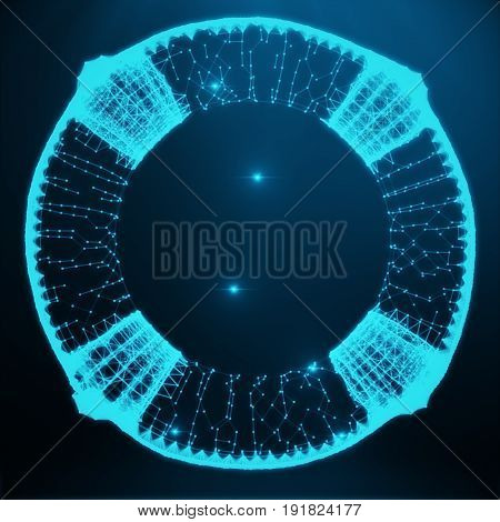 Abstract image of a lifebuoy in the form consisting of dots and lines. 3D rendering