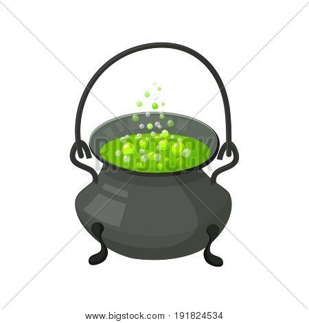 Halloween witch s cauldron with potion. Halloween icon isolated on white background. Cartoon style vector illustration