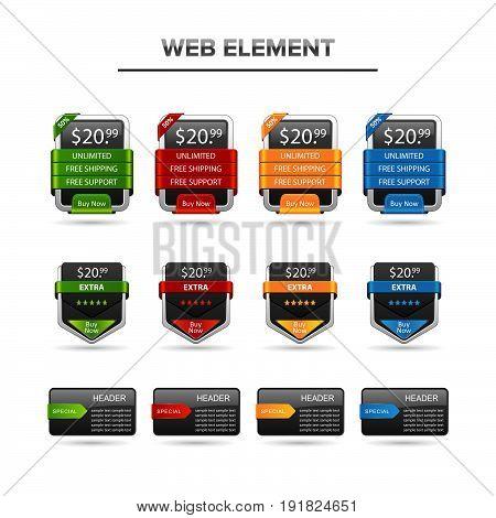 web element  e-comerce set. Illustration design. Fully editable vector
