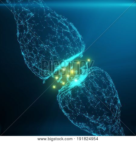 Blue glowing synapse. Artificial neuron in concept of artificial intelligence. Synaptic transmission lines of pulses.Abstract polygonal space low poly with connecting dots and lines. 3D rendering