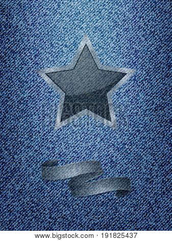 Blue Denim Texture Background With Star and Banner