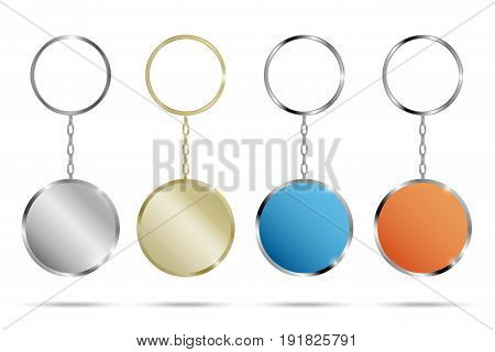 Realistic Metal and Plastic Keychains Set Round Designs web element vector. Silver, gold, blue, orange keychains.