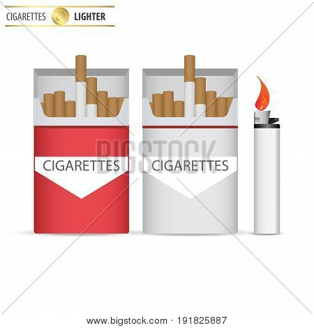 Open pack of cigarettes with lighter. Pack of cigarettes. The nicotine dependence. Addiction. The red packaging