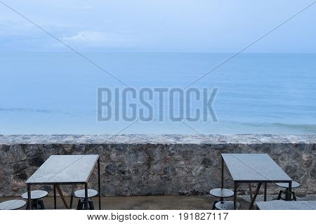 nobody in cafe over sea view and blue sky