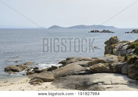 Islets at the Ria of Arosa seen from La Toja in the province of Pontevedra Galicia Spain.