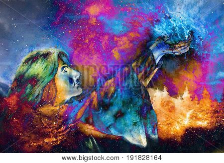 beautiful woman with hands holding light, computer graphic from painting. Cosmic Space background