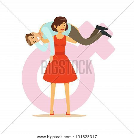 Woman in a red dress holding man on her shoulders, feminism colorful characters vector Illustration on background of a female pink gender symbol