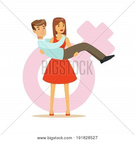 Woman in a red dress holding man in her hands, feminism colorful characters vector Illustration on background of a female pink gender symbol