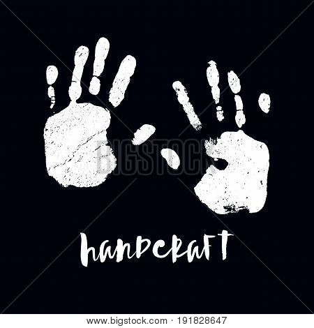 Isolated illustration on white background. Black imprint of a human hand. Ink stamp with his fingers. Vector. EPS10