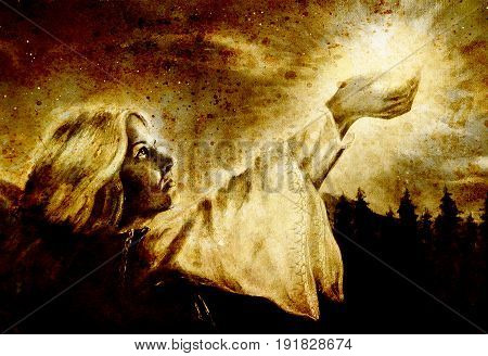 beautiful woman with hands holding light in nocturnal landscape, computer graphic from painting. Sepia effect